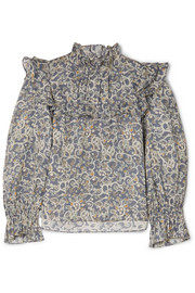 Ted ruffled printed linen top