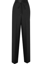 Bottega Veneta Silk satin-trimmed wool and mohair-blend wide-leg pants