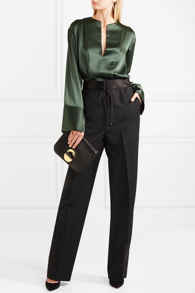 Bottega Veneta Hose mit weitem Bein aus einer Woll-Mohairmischung mit einem Besatz aus Duchesse-Seidensatin