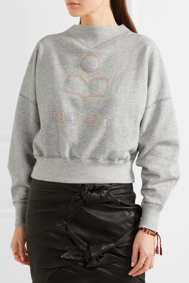 Isabel Marant Étoile Odilon besticktes Sweatshirt aus Jersey aus einer Baumwollmischung Fälschen Zum Verkauf qh3d2