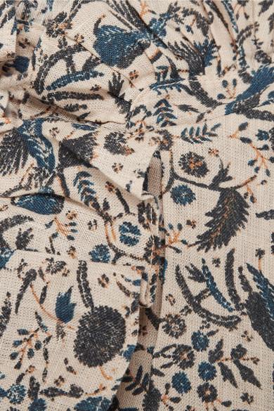 Isabel Marant Étoile Tauren Bluse aus bedrucktem Leinen mit Rüschen