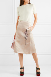 Pleated printed duchesse-satin skirt
