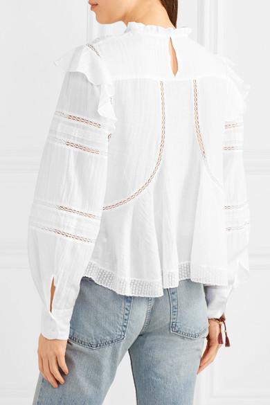 Isabel Marant Étoile Viviana Bluse aus Voile aus einer Baumwollmischung mit Spitzeneinsätzen und Rüschen
