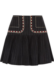 Jessie embroidered pinstriped linen mini skirt