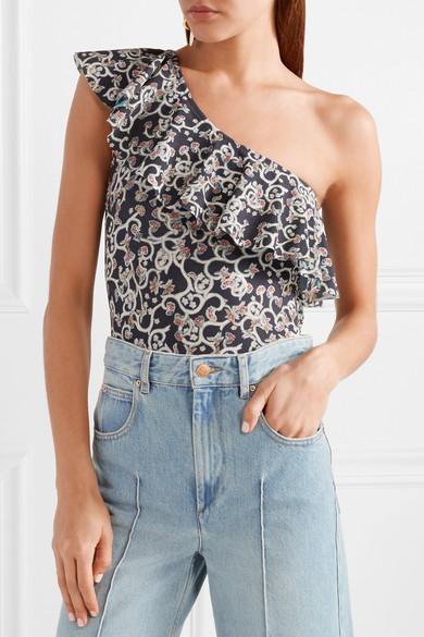 Isabel Marant Étoile Sicilya bedruckter Body aus Stretch-Jersey mit asymmetrischer Schulterpartie und Cut-out