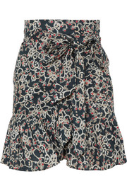 Tempster printed linen wrap mini skirt