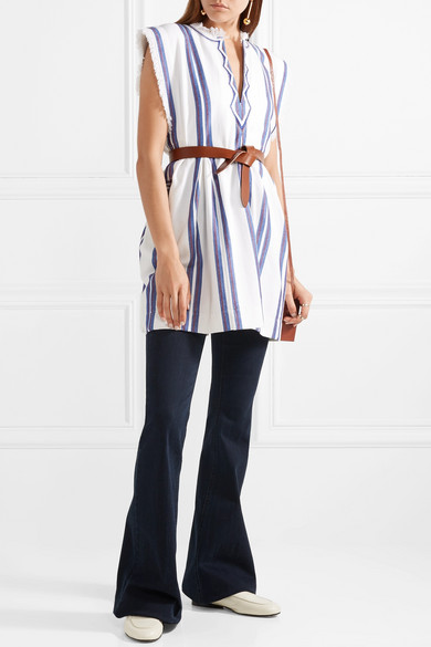 Denize Frayed Striped Woven Cotton Top by Isabel Marant Étoile