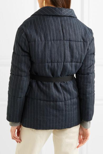 Isabel Marant Étoile Jaron gesteppte Jacke aus Leinen mit Nadelstreifen