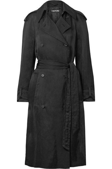 DOUBLE-BREASTED TWILL TRENCH COAT