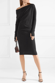 One-shoulder cashmere and silk-blend midi dress