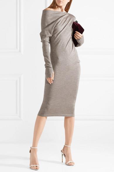 TOM FORD Kleid aus einer Kaschmir-Seidenmischung mit asymmetrischer Schulterpartie