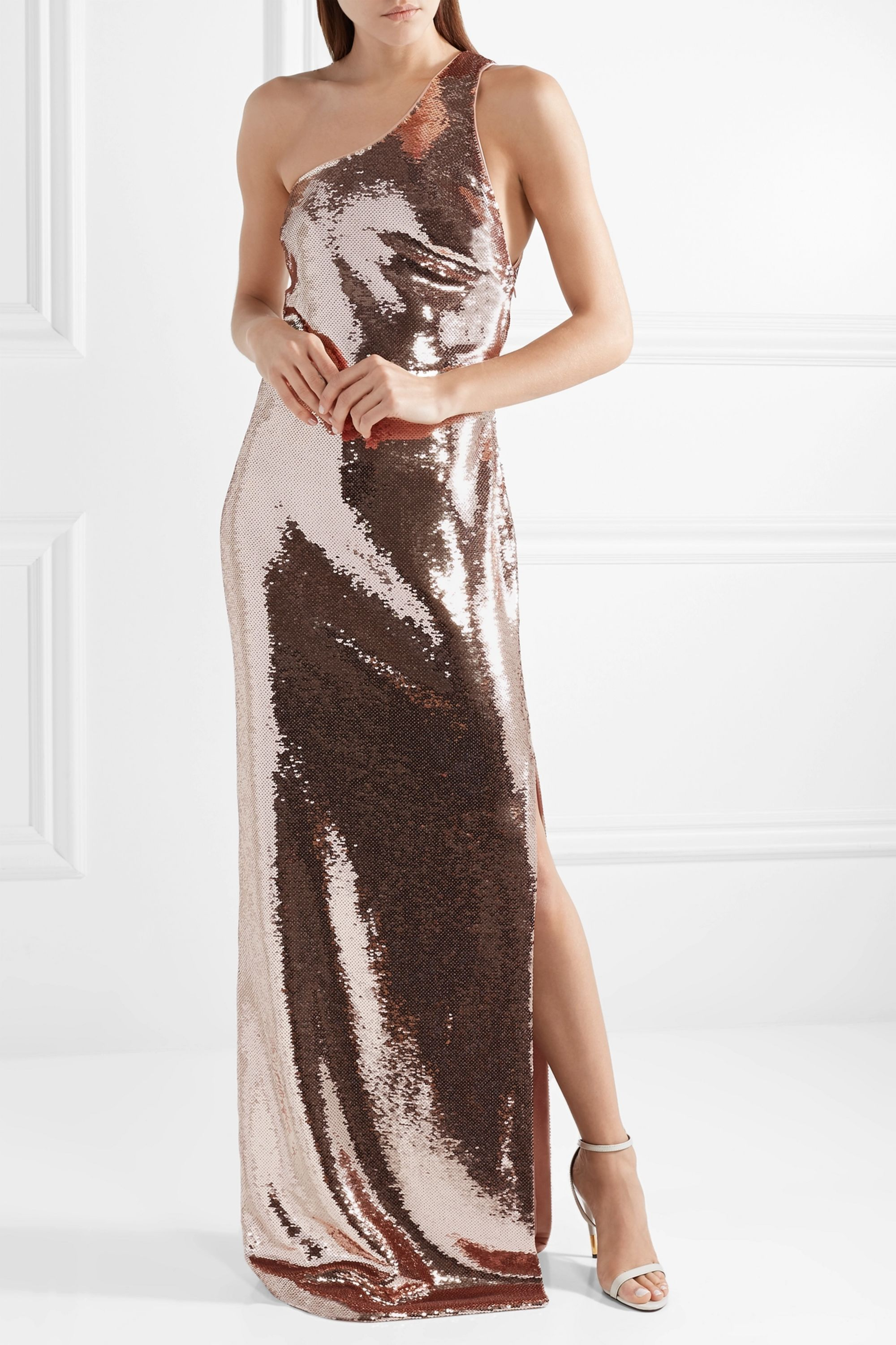 TOM FORD One-shoulder sequined tulle gown
