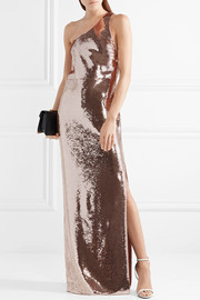 One-shoulder sequined tulle gown