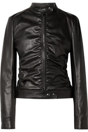 Ruched leather biker jacket