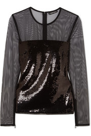 TOM FORD Sequined tulle top