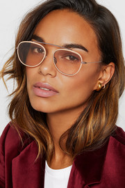 Sunday Somewhere Rocky aviator-style rose gold-tone and acetate sunglasses
