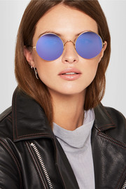 Sunday Somewhere Raine round-frame gold-tone mirrored sunglasses