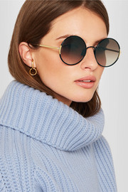 Sunday Somewhere Yetti round-frame gold-tone sunglasses