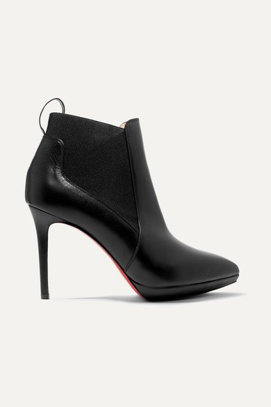CHRISTIAN LOUBOUTIN Crochinetta Platform Red Sole Booties in Black