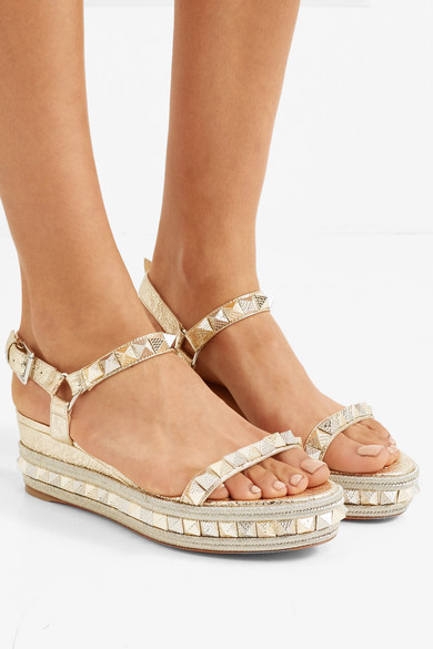 4d796a0485f Christian Louboutin. Pyraclou 60 spiked metallic textured-leather wedge  sandals