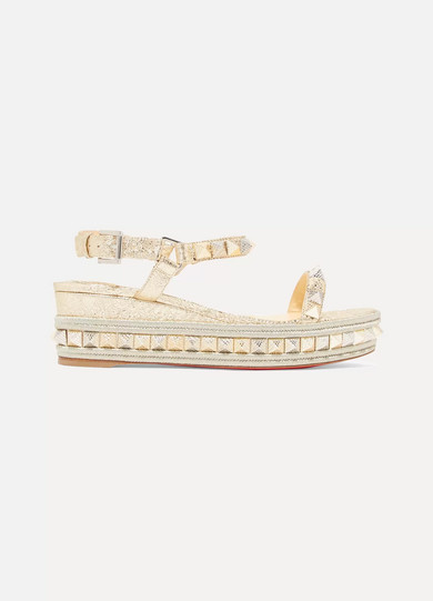 Pyraclou 60 spiked metallic textured-leather wedge sandals