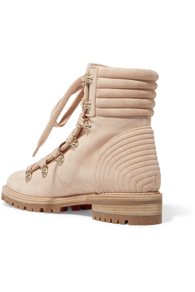 Christian Louboutin Ankle Boots Mad Quilted Veloursleder With Rivets