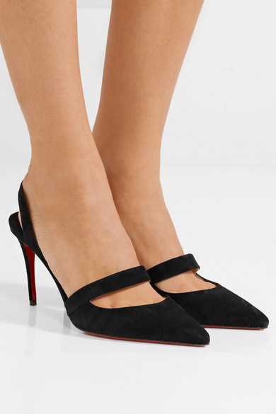 best sneakers 3cd61 b2556 Christian Louboutin | Actina 85 suede slingback pumps | NET ...