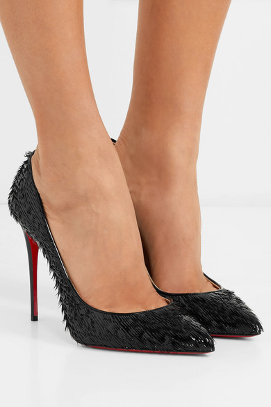 CHRISTIAN LOUBOUTIN PIGALLE FOLLIES 100 FRINGED PATENT-LEATHER PUMPS, BLACK