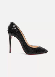 Christian Louboutin Pigalle Follies 100 fringed patent-leather pumps