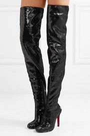 Christian Louboutin Louise 100 sequined leather over-the-knee boots