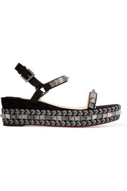 Christian Louboutin Pyraclou 60 spiked suede wedge sandals