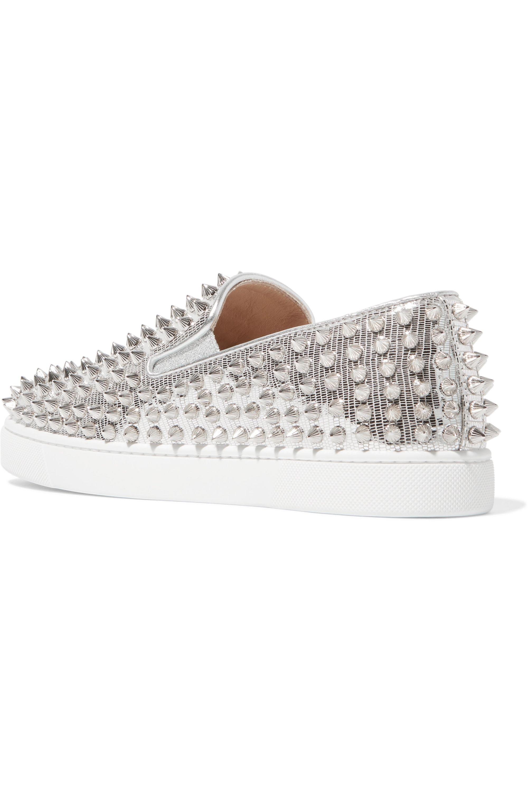 Christian Louboutin Roller Boat spiked metallic textured-leather slip-on sneakers