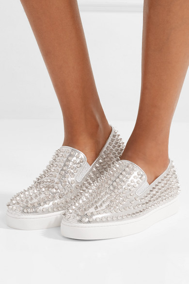 0135d5dacbb Christian Louboutin | Roller Boat spiked metallic textured-leather ...