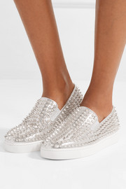 Roller Boat spiked metallic textured-leather slip-on sneakers