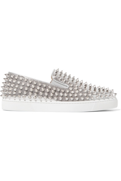 1e67f0a61fb Roller Boat spiked metallic textured-leather slip-on sneakers