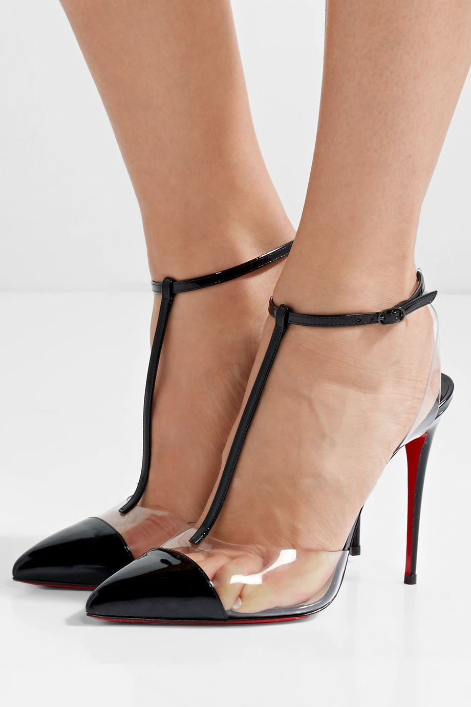 Christian Louboutin Nosy 100 patent-leather and PVC T-bar pumps