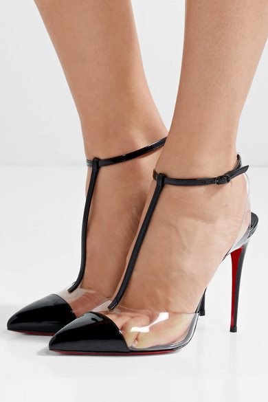 7d522e6aaadf Christian Louboutin. Nosy 100 patent-leather and PVC T-bar pumps