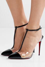 Nosy 100 patent-leather and PVC T-bar pumps