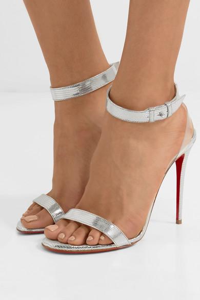 93e1ff9b1d5 Jonatina 100 PVC-trimmed metallic lizard-effect leather sandals