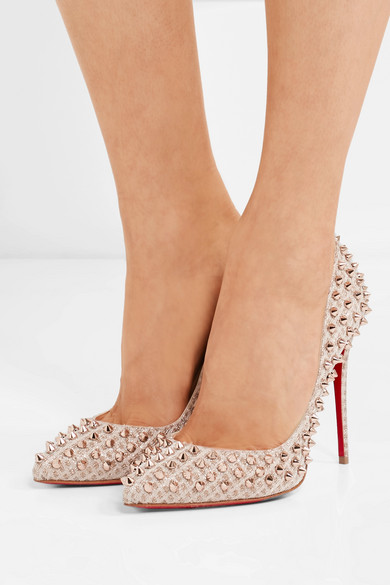 on sale ea029 a161e Christian Louboutin | Pigalle Follies 100 spiked textured ...