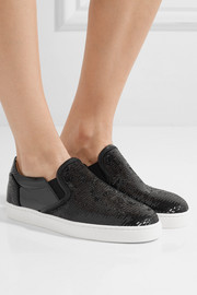 Christian Louboutin Masteral sequined patent-leather slip-on sneakers