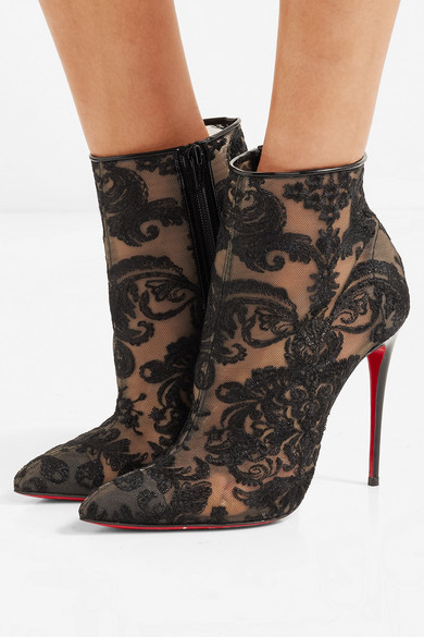 7f8a06b15a2 Christian Louboutin | Gipsy 100 guipure lace ankle boots | NET-A ...