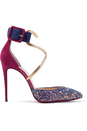Christian Louboutin Suzanna 100 leather-trimmed glittered suede pumps