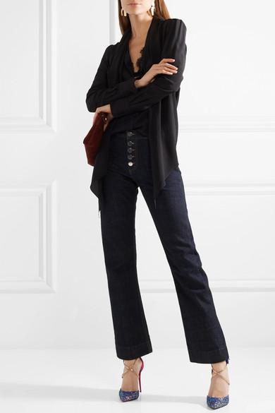 Christian Louboutin Suzanna 100 Pumps aus Veloursleder mit Lederbesatz und Glitter-Finish