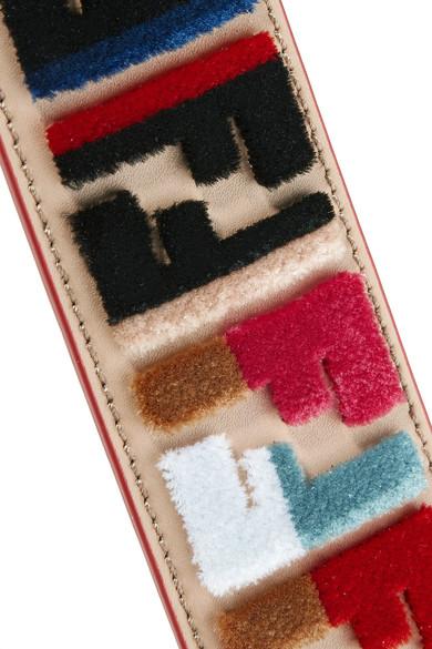 Fendi Taschenträger aus Leder mit Samtapplikationen