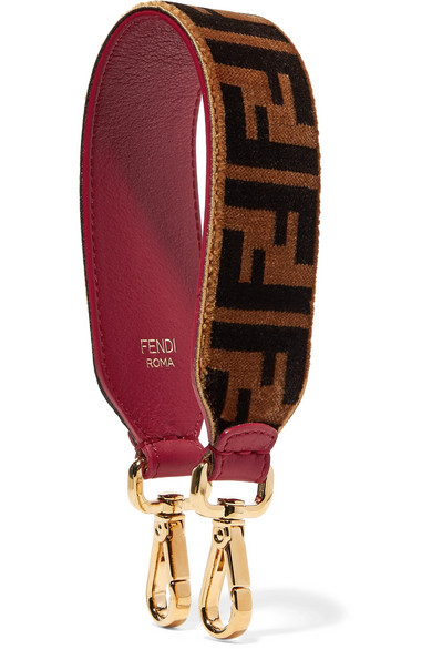 PRINTED VELVET AND LEATHER BAG STRAP