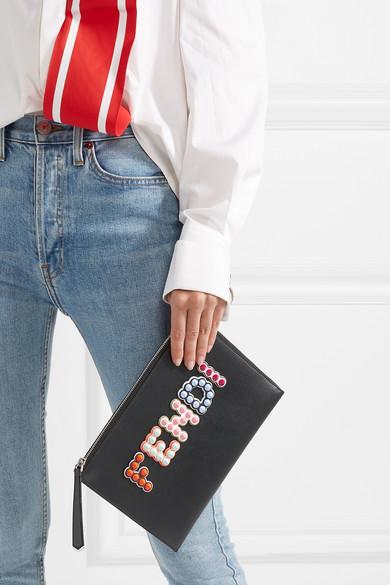 2018 Neue Lieferung Frei Haus Mit Kreditkarte Fendi Beutel aus Leder mit Nieten und Applikationen mbPvx6o