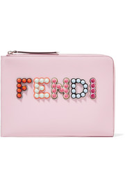 Fendi Studded appliquéd leather pouch
