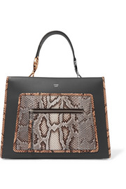 Fendi Python-trimmed leather tote