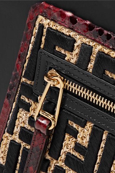 Fendi Runaway kleine Tote aus Leder mit Besätzen aus Pythonleder und Raffiabast